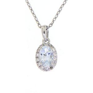 Aquamarine Diamond Oval Pendant Jewelry White Gold